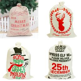 flor de la luz de la luna Rebajas 1 UNID Año Nuevo Bolsa de Dulces de Navidad de Papá Noel Cordón Lienzo Saco Vajilla Rústico Vintage Medias Bolsa de Regalo