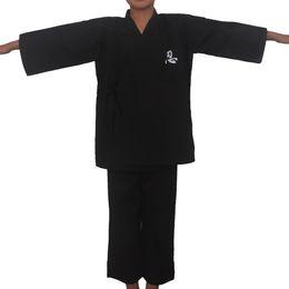 Argentina Negro japonés Ninja Boys Tradicional Kimono Niño Guerrero Hombres de la espada Yukata Niños Escenario Rendimiento Ropa Traje de samurai cheap black traditional kimono Suministro