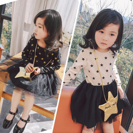 Wholesale Long Lace Dress Wholesale - Vieeolove Girls Floral Star Dress Kids Clothing 2018 Spring Autumn Pleated Dress Fashion Long Sleeve Cotton Princess Dress with Bag VL-090