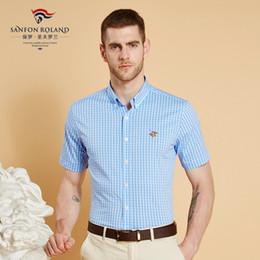 Wholesale slim fit shirt check men - Sanfon Roland Brand Cotton Wholesale 2018 Men Casual Shirts Summer Male Short Seeve Slim Fit Plaid Shirts Mens Checked Dress Shirts SFLD6061