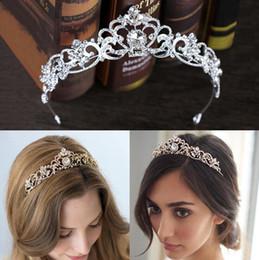 Wholesale Rose Gold Tiara - Rose Gold Wedding Bridal Crown Queen Crystals Royal Crystal Wedding Crowns Stone Headband Hair Gold Masquerade Birthday Party Tiaras