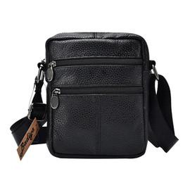 Genuine Cow Leather Mens Business Messenger Bags Zipper Design Solid  Crossbody Bag Men Large Capacity Black Shoulder Bag For Man cf39f37d8ecf9
