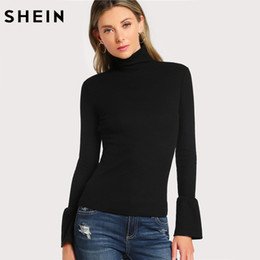 Camiseta de punto acanalado online-Al por mayor-SHEIN Bell Cuff Rib Knit Fitted Camiseta Otoño Mujeres Tops de manga larga Negro High Neck Work Elegante camiseta Top