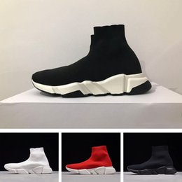 Wholesale White Fur Socks - 2018 Luxury Sock Shoe Speed Trainers Running Sneakers Speed Trainer Sock Race Runners black white red Shoes men and women Sports Shoes 36-45