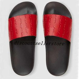 Wholesale Boy Slides - 2018 mens and womens fashion logo siganation leather slide Sandals with rubber sole boys girls causal beach slippers