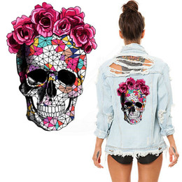Wholesale Rose Stickers - Mosaics rose Skeleton Sticker 26*18cm patch Diy T-shirt Hoodies and denim jacket thermal transfer patches for clothes
