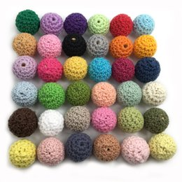 Wholesale Mixed Wooden Beads - Crochet Round Wooden Beads Crochet Color Mix Ball 20mm Decoration Inside Wooden Teething Crochet Beads