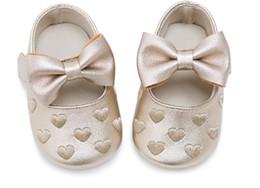 meias de borracha de borracha atacado Desconto Bebés Meninas Sapatos PU Soft Sole Bow Prewalker 0-18 Meses