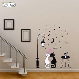 1 pcs Mignon de Bande Dessinée Couple Chat Fleur Vigne 3D Papier Peint DIY Vinyle Stickers Muraux Chambres Décor À La Maison Art Stickers ? partir de fabricateur