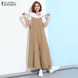 46d3fe947c4e ZANZEA 2018 Summer Rompers Womens Jumpsuit Casual Loose Strapless Overalls  Pockets Playsuits Solid Wide Leg Pants Trousers