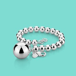 bracelet solid Coupons - woman 925 sterling silver bracelet Ethnic the ball pendant beaded bracelet lady charm Silver jewelry 20cm chain Solid