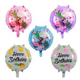 Wholesale Pvc Balloons - New Pattern 18 Inch Circular Pineapple Flamingo Metallic Balloons Birthday The Wedding Party Decorative Aluminum Foil Balloon 0 65rm W