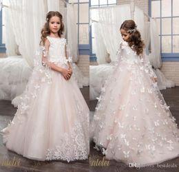 Matrimoni farfalle online-Flower Girl Dresses For Weddings Custom Made Princess Tutu Lace Beads Farfalle per bambini Prima Comunione Abiti