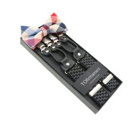 Wholesale Y Clip Suspender Belt - 6 Clips Men Set Bow Tie Y-Shape Jacquard Braces Elastic Adjustable Pants Suspenders Belt Bretelles 3.5cm Width
