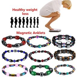 Wholesale wholesale magnetic therapy - 1Pcs Weight Loss Stone Magnetic Therapy Slimming Bracelets Health Care Magnetic Hematite Stretch Beaded Bracelets for Men Women