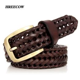 Unisex Hombres Mujeres Cinturón de Cuero Genuino Masculino Femenino Hebilla  Tejida Tejida de Calidad de Lujo Diseñador de Moda Marca Cinturones Para ... fa85a15805b5