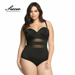 Wholesale Womens One Piece Suits - Sexcer Plus Size Sexy Mesh Swimsuit Big Size Swimsuit Swimwear Large womens one piece swim suit 2017 Feminina Bathing Suit