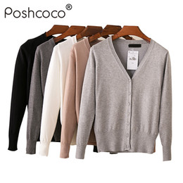 Poshcoco Brand Casual Loose V neck Single Breasted Women Knitted Short  Cardigans Sweater 2018 New Spring Candy Color Cardigan 8a0fbbaed