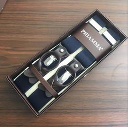 Mens braces clips online-La bretella del pulsante a clip convertibile elastico degli uomini di marrone scuro del blu scuro di 35mm bretella per il vestito convenzionale trasporto libero