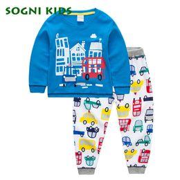 Wholesale pajama sets for girls - Baby Boy Girl Clothing Set Children Pajama Nightwear for 2017 Brand Cartoon Car Clothes Toddler Long Sleeve Nightgown Sleepwear