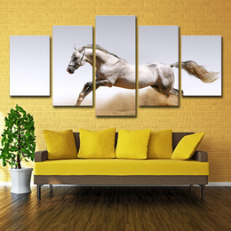 horse paintings Promo Codes - Abstract Painting Photo Wall Pictures For Living Room Decorative Painting 5 Panel The White Horse HD Poster Canvas Painting