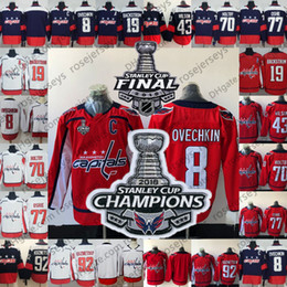 Wholesale army jerseys - 2018 Stanley Cup Final Champions Patch Jerseys Caps #8 Alex Ovechkin 77 TJ Oshie 92 Kuznetsov 70 Holtby Red Navy White Washington Capitals