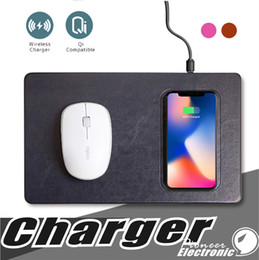 Wholesale iphone wireless mouse - Qi Wireless Charger Mouse Pad luxury leather materail mobile phone charger mouse pad For iphone X 8 plus Samsung s9 plus Smartphone