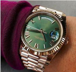 2019 мужские часы зеленый золото 2019 бесплатная доставка мужские часы зеленое лицо розовое золото ремешок из нержавеющей стали часы Daydate автоматическое движение мужские часы дешево мужские часы зеленый золото