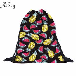 рюкзаки из арбуза Скидка Aelicy Unisex 3D Pineapple Watermelon String Shoulder Bags Women Drawstring Backpack Rucksack Sack Bag Student School bag