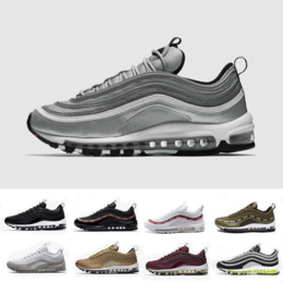 Wholesale Rubbers Bands - 2018 Mens Sneakers Shoes classic 97 Men Running Shoes Black White Trainer Air Cushion Breathable Man Walking Sports Shoes size 36-46eur