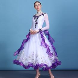 dança trajes valsa Desconto 2018 novas estampas florais de strass vestidos de dança de salão das mulheres vestidos de manga longa stage waltz dança moderna trajes