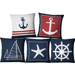2018 Anker Kissen Blue Boat Anchor Mariner Maritime Amerikanische Marine  Style Leinen Kissen Set Home Stoff