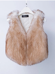 coat hook designs Promo Codes - New design fashion women's warm v-neck sleeveless faux fox fur short coat vest plus size SMLXL casacos