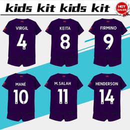 11 M.SALAH Jérsei De Futebol Kits de Crianças 18 19   9 FIRMINO   10 MANO  Fora Roxo Crianças Camisas De Futebol 2019 Camisas De Futebol Da Criança  Uniforme ... 1fbc363f32f05
