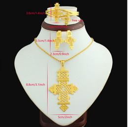 22k chapado en oro online-Cruz etíope Tamaño grande Colgante / Collar / Pendiente / Brazalete / Conjunto de anillos Joyería Eritrea Habesha Copta 22 k chapado en oro Mujeres africanas