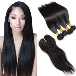 Wholesale Double Drawn Hair Extensions Brown - Brazilian Straight 4 Bundles Virgin Human Hair With Lace Closure 7a Brazilian Virgin Hair Double Drawn Virgin Cheap Hair Extensions