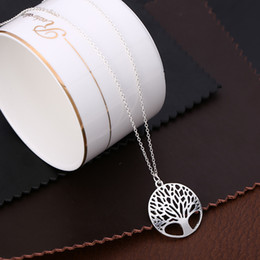 Wholesale christmas tree cheap - Silver life tree Necklace Design Round Fashion Birthday Valentine Tree of Life Necklace Cheap Bulk Christmas Gifts