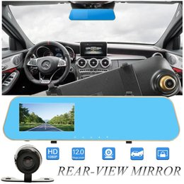 "g sensor camera Promo Codes - 2Ch 4.3"" 1080P full HD car DVR digital mirror camcorder vehicle driving recorder anti-glare rearview parking grid G-sensor cycle recording"