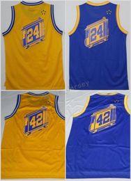 Wholesale vintage black fan - New Style 24 Rick Barry Jersey Throwback Team Color Blue Yellow 42 Nate Thurmond Shirt Uniform Retro Vintage For Sport Fans High Quality