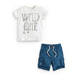 Set di abbigliamento per bambini online-Carattere estivo stampato T-shirt neonato Imposta neonato neonato Abbigliamento sportivo Tuta da bambino Abbigliamento casual