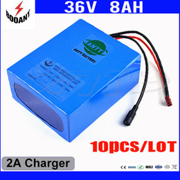 Wholesale 36v Battery For Bicycle - Wholesale 10Pcs Lot 36V 8Ah 450W Electric Bicycle Battery 36V 18650 Cell For Bikes Motor With 42V 2A Charger Free Shipping