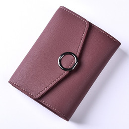 Wholesale Photo Ms - Short Fashion Women's Coin Purse Femal Candy Color Soft Leather Ring Zipper Buckle Ms. Folding Mini Wallet Children Gift
