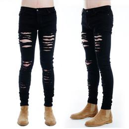 2019 dunkle wäsche zerrissene dünne jeans Mens Skinny Fit Hipster Zerrissene Gothic Jeans Distressed Destroyed Ausgefranste Jeans Lange Hose Dark Wash Super Dehnbar Weich günstig dunkle wäsche zerrissene dünne jeans