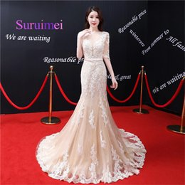 Wholesale Nude Robe - Hot Sale Fast Shipping Long Mermaid Formal Evening Dresses Robe de Soiree Prom Dress with Appliques Floor Length Short Sleeves