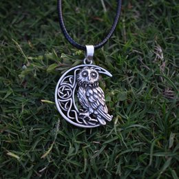 Wholesale Wicca Amulet - whole saleOwl Goddess Crescent Moon Pendant Wicca Celtic Pagan Amulet Talisman Occult Magick Athena Wisdom Knowledge SanLan Jewelry