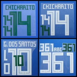 Wholesale printed numbers - 2018 Mexico A.GUARDADO M.LAYUN H.LOZANO G.DOSSANTOS CHICHARITO font Name number Print patches badges,Soccer Hot stamping Badges