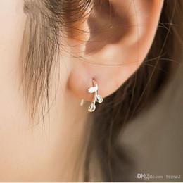 Orecchini in argento gioielli di design all'orecchio all'ingrosso Orecchini in argento orecchini semplici gioielli Corea lascia orecchini da orecchino disegno della corea fornitori