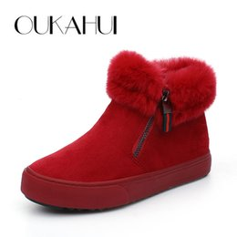 Wholesale Short Boots For Men - OUKAHUI high quality Suede warm short snow boots woman winter with fleece Side zipper non-slip comfortable ankle boots for women
