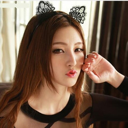 Wholesale lace cat ears - Black Lace Cat Ears Headband For Women Girls Hairband Dance Party Sexy Boutique Hair Hoop Hair Accessories 2018 Hot Sale 12PCS