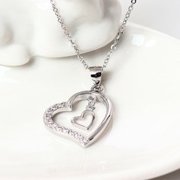 Wholesale Double Heart Necklace Diamond - Charms 925 sterling silver Double Diamond Pendant shaped hollow female love Zircon necklace fashion sets jewelry gift women chain